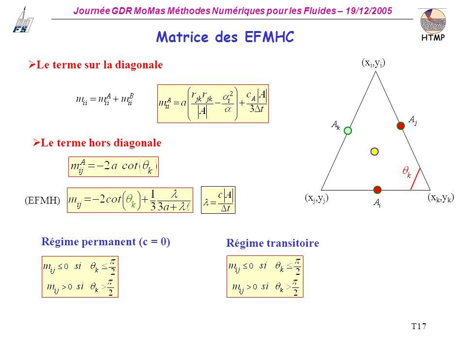 Matrice des EFMHC Le terme sur la diagonale Le terme hors diagonale