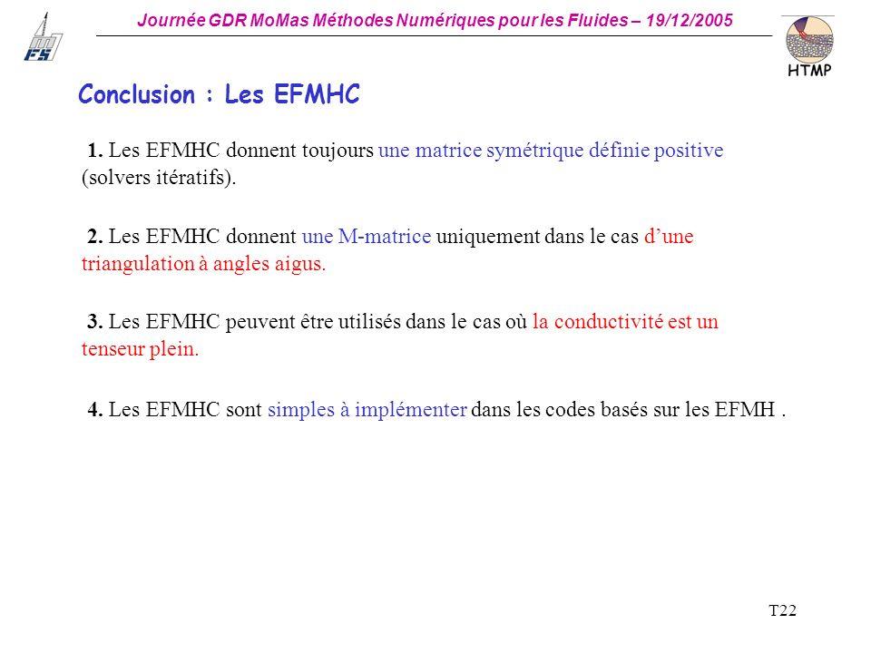 Conclusion : Les EFMHC 1. Les EFMHC donnent toujours une matrice symétrique définie positive (solvers itératifs).