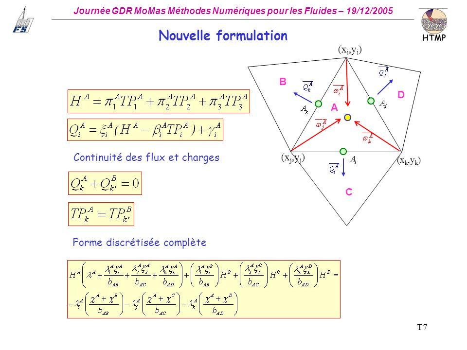 Nouvelle formulation (xi,yi) B D A Continuité des flux et charges