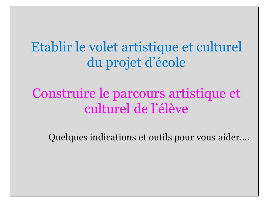 Etablir le volet artistique et culturel du projet d'école