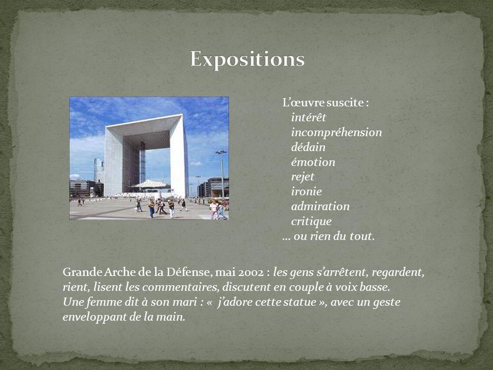 Expositions L'œuvre suscite : intérêt incompréhension dédain émotion