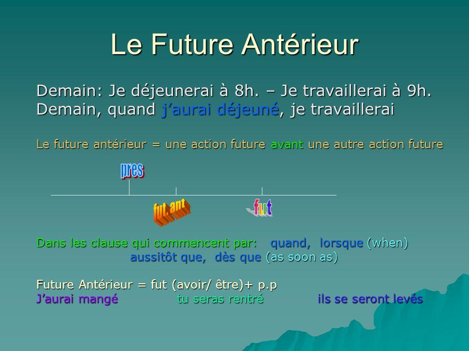 Le Future Antérieur Demain: Je déjeunerai à 8h. – Je travaillerai à 9h. Demain, quand j'aurai déjeuné, je travaillerai.