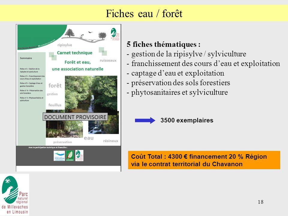 Fiches eau / forêt 5 fiches thématiques :