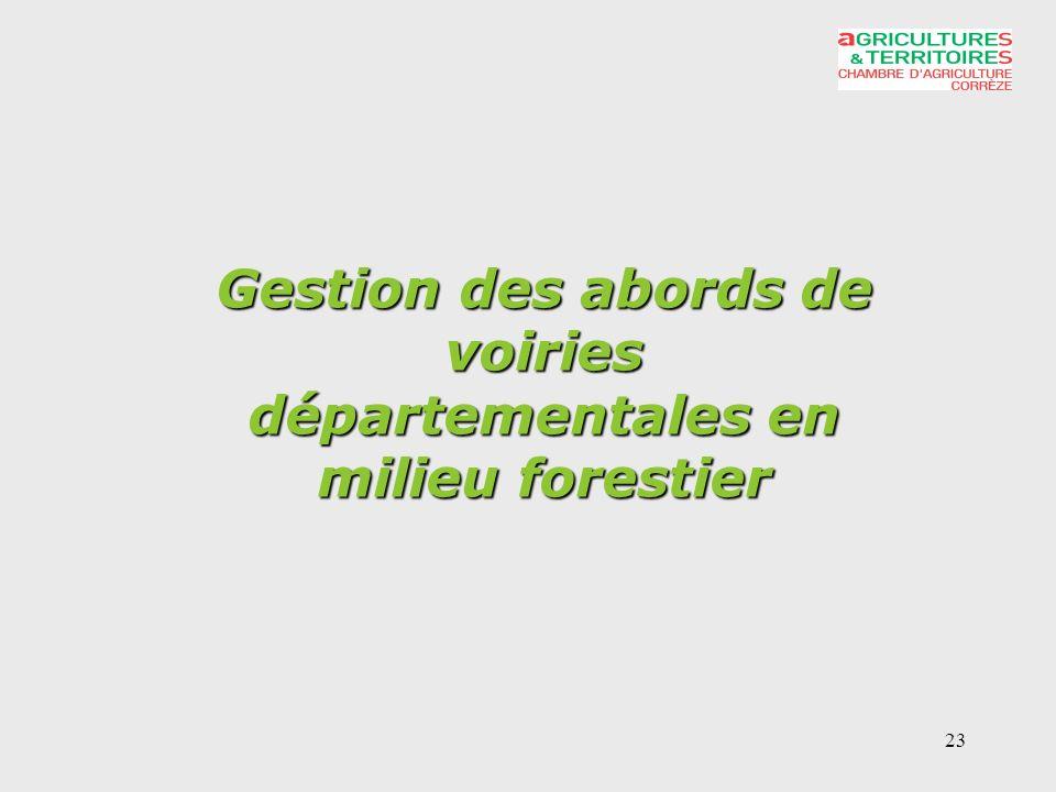 Gestion des abords de voiries départementales en milieu forestier