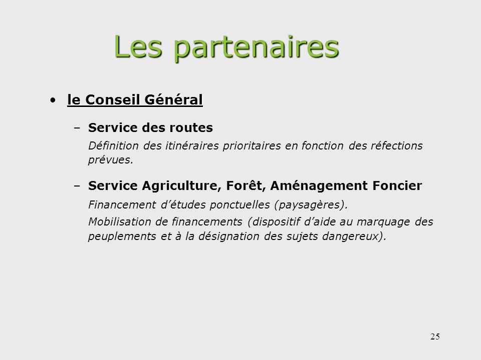 Les partenaires le Conseil Général Service des routes