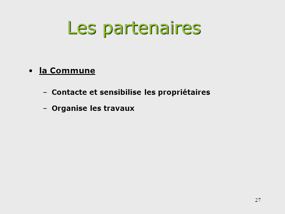 Les partenaires la Commune Contacte et sensibilise les propriétaires