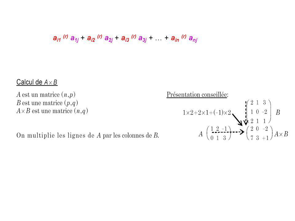 ai1 (r) a1j + ai2 (r) a2j + ai3 (r) a3j + … + ain (r) anj