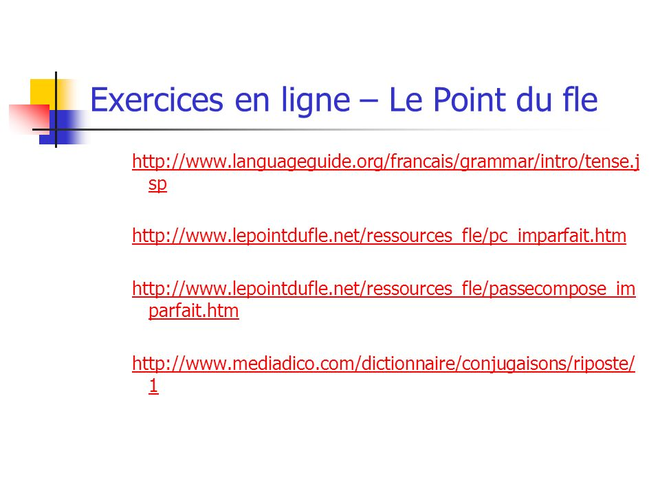 Exercices en ligne – Le Point du fle