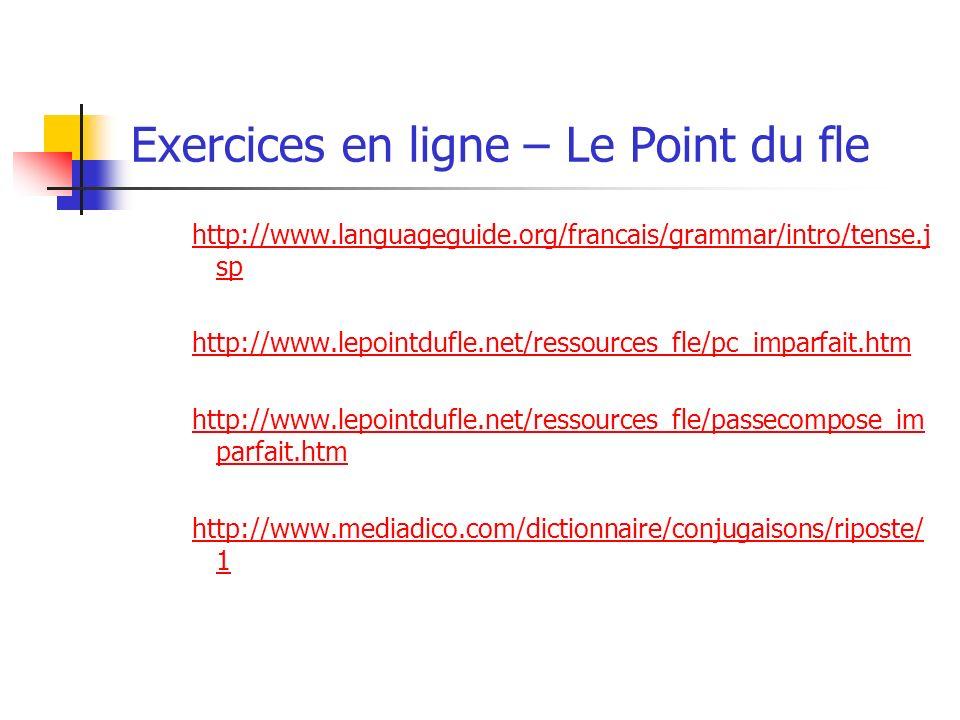 Exercices en ligne – Le Point du fle