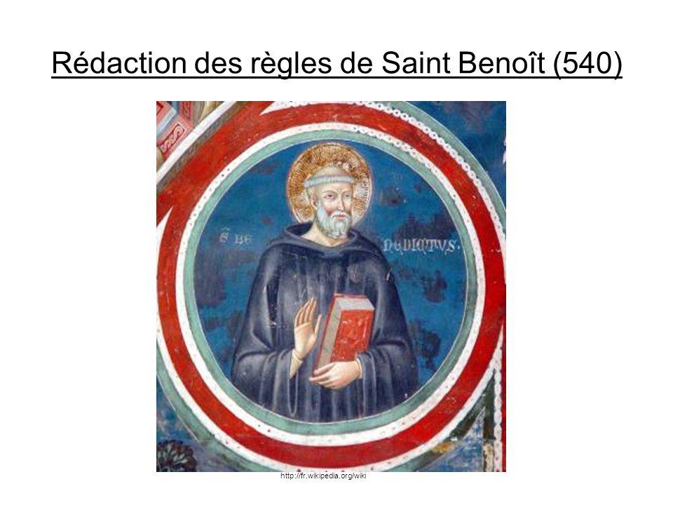 Rédaction des règles de Saint Benoît (540)