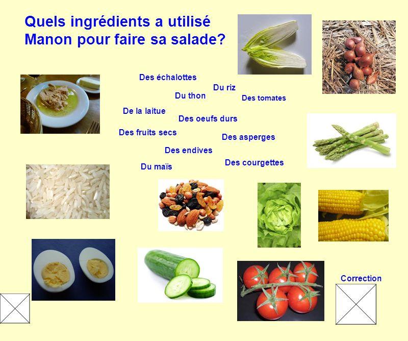 Quels ingrédients a utilisé Manon pour faire sa salade