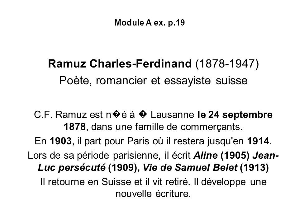 Ramuz Charles-Ferdinand (1878-1947)