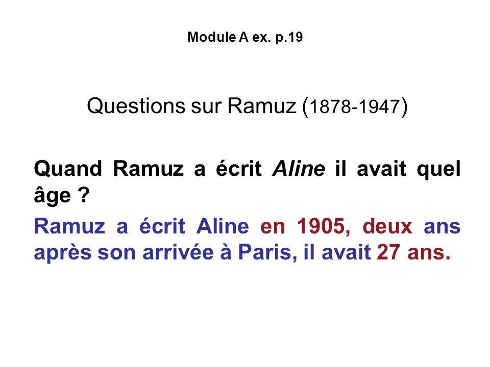 Questions sur Ramuz (1878-1947)