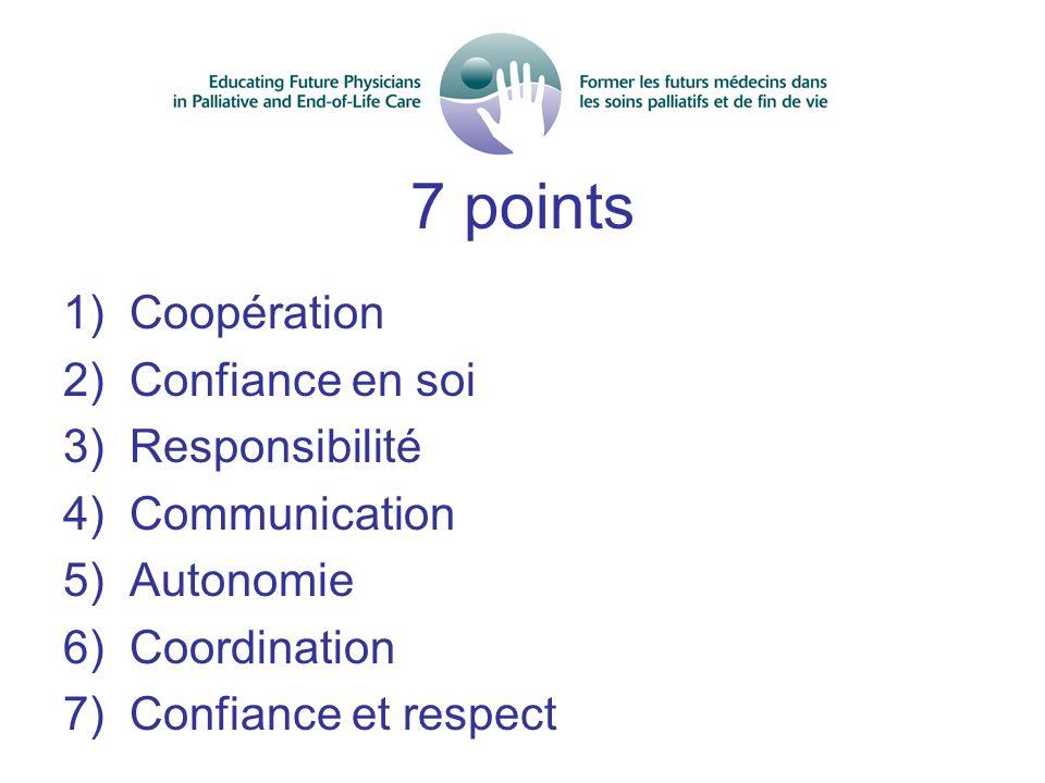 7 points 1) Coopération 2) Confiance en soi 3) Responsibilité