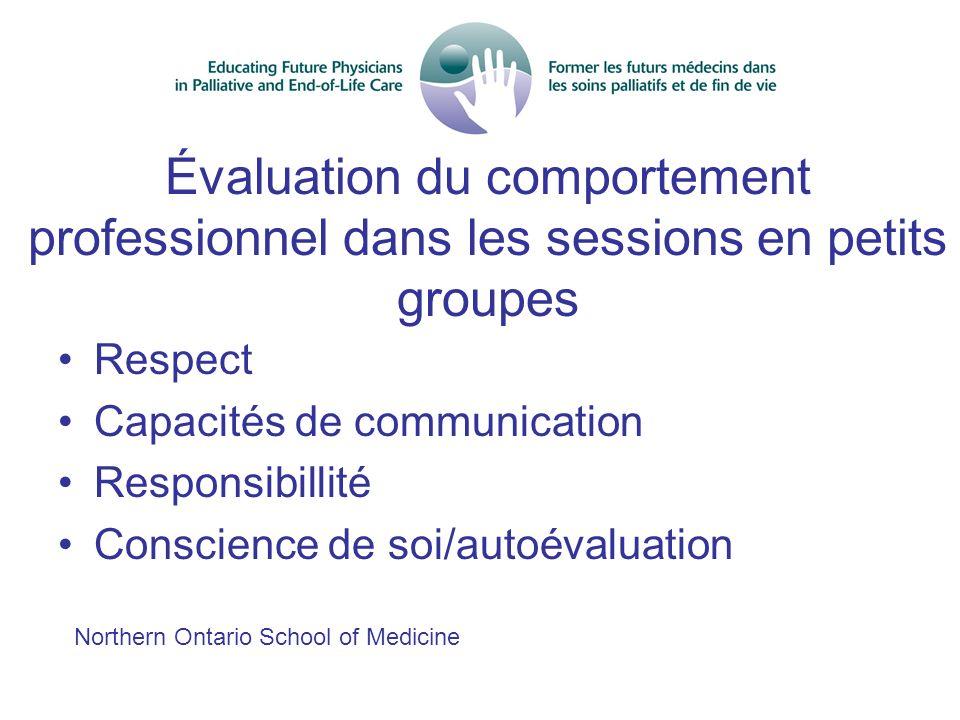 Évaluation du comportement professionnel dans les sessions en petits groupes