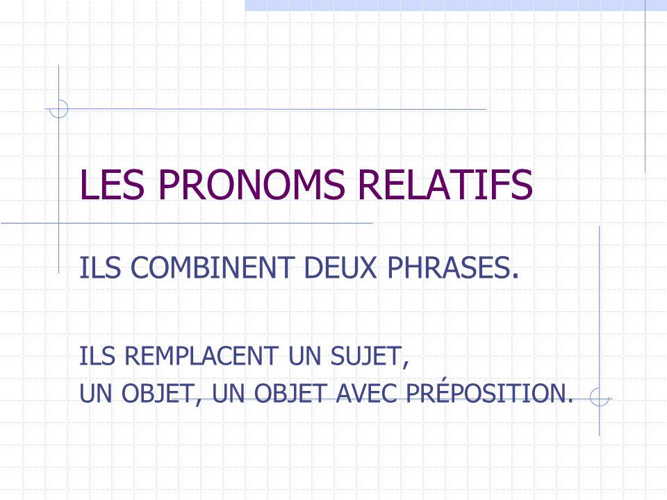 LES PRONOMS RELATIFS ILS COMBINENT DEUX PHRASES.