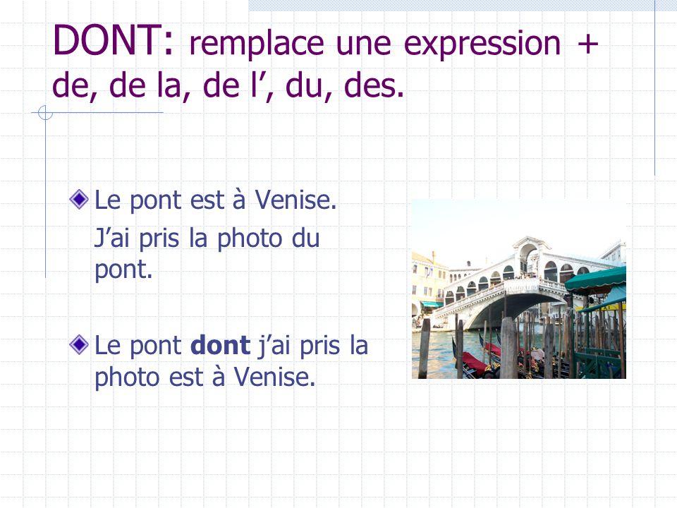 DONT: remplace une expression + de, de la, de l', du, des.