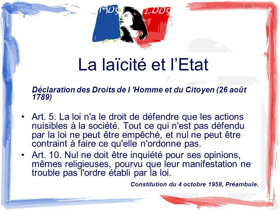 La laïcité et l'Etat Déclaration des Droits de l Homme et du Citoyen (26 août 1789)