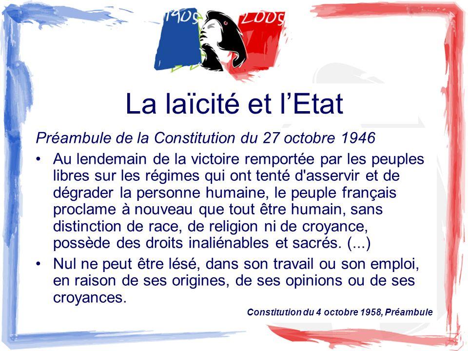La laïcité et l'Etat Préambule de la Constitution du 27 octobre 1946
