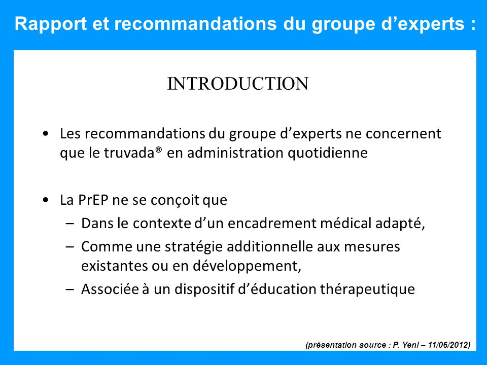Rapport et recommandations du groupe d'experts :