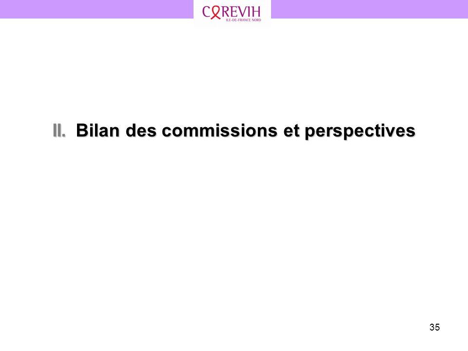 II. Bilan des commissions et perspectives
