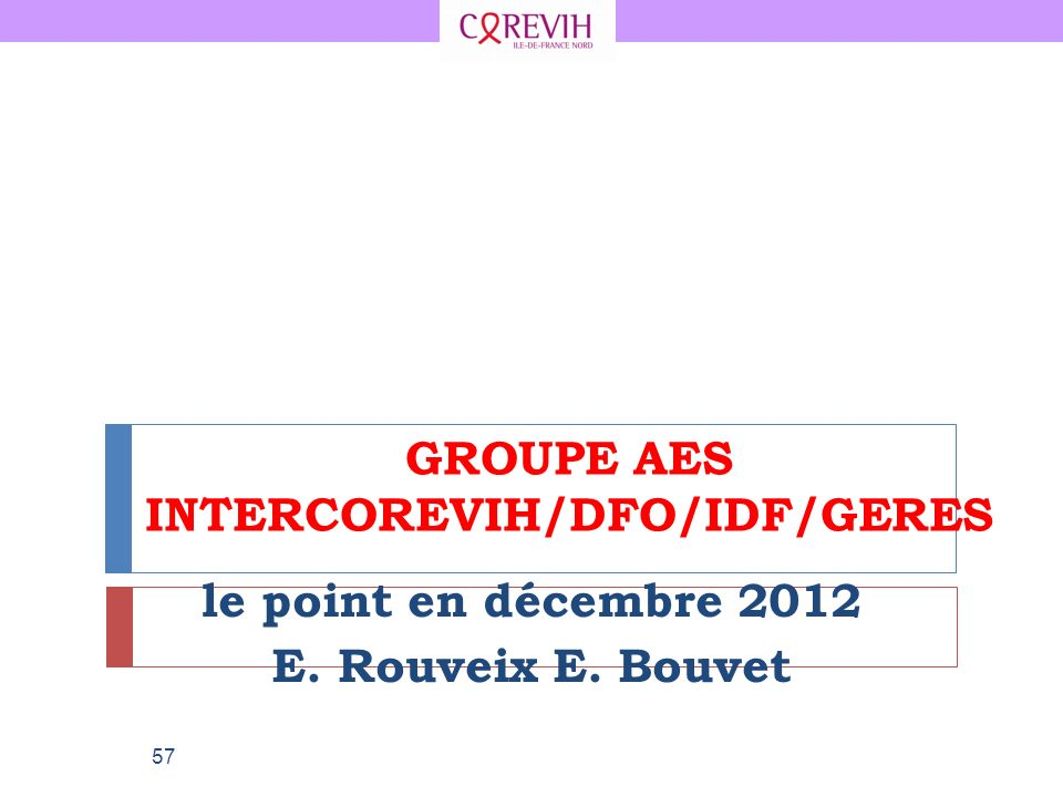 GROUPE AES INTERCOREVIH/DFO/IDF/GERES