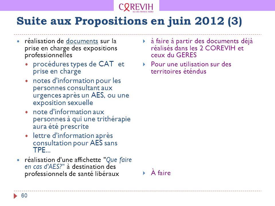 Suite aux Propositions en juin 2012 (3)