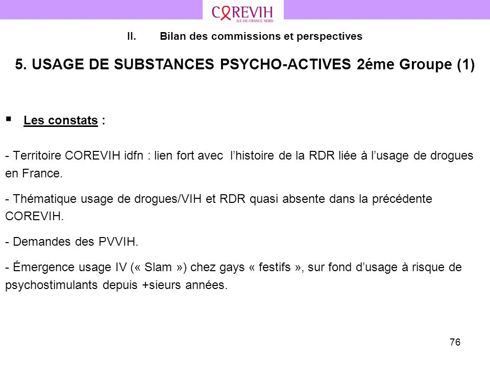 5. USAGE DE SUBSTANCES PSYCHO-ACTIVES 2éme Groupe (1)