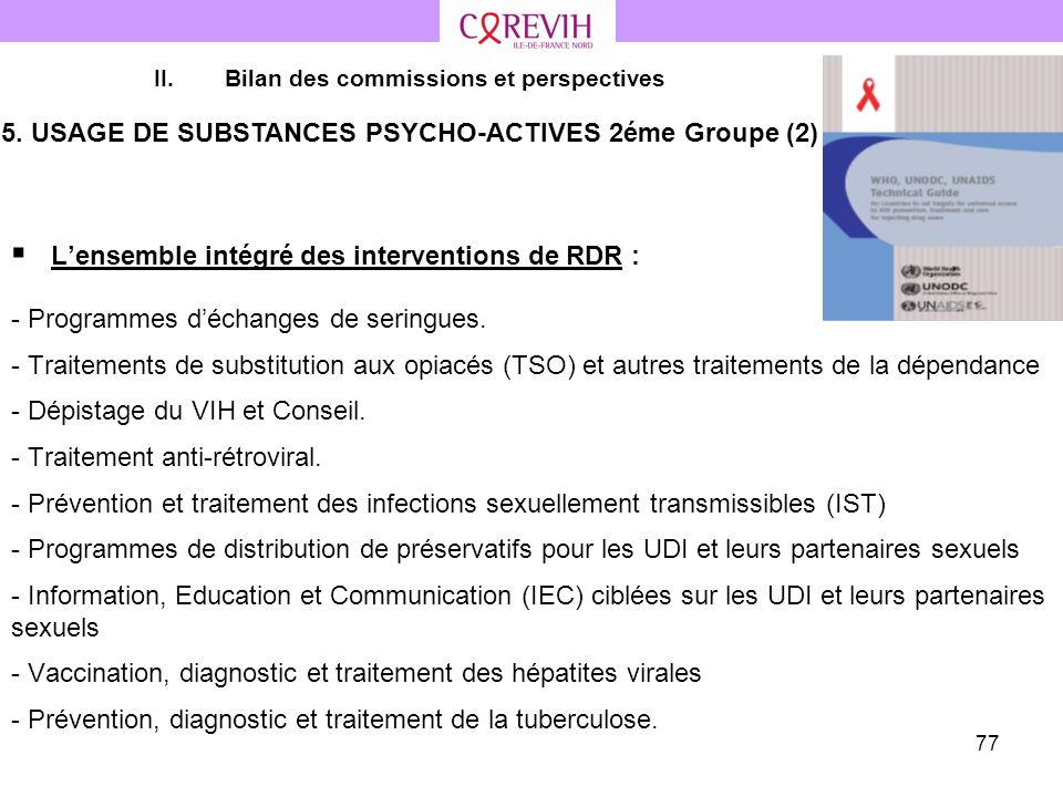 5. USAGE DE SUBSTANCES PSYCHO-ACTIVES 2éme Groupe (2)