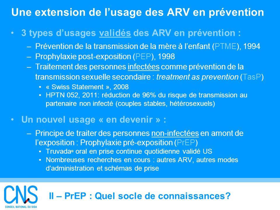 Une extension de l'usage des ARV en prévention