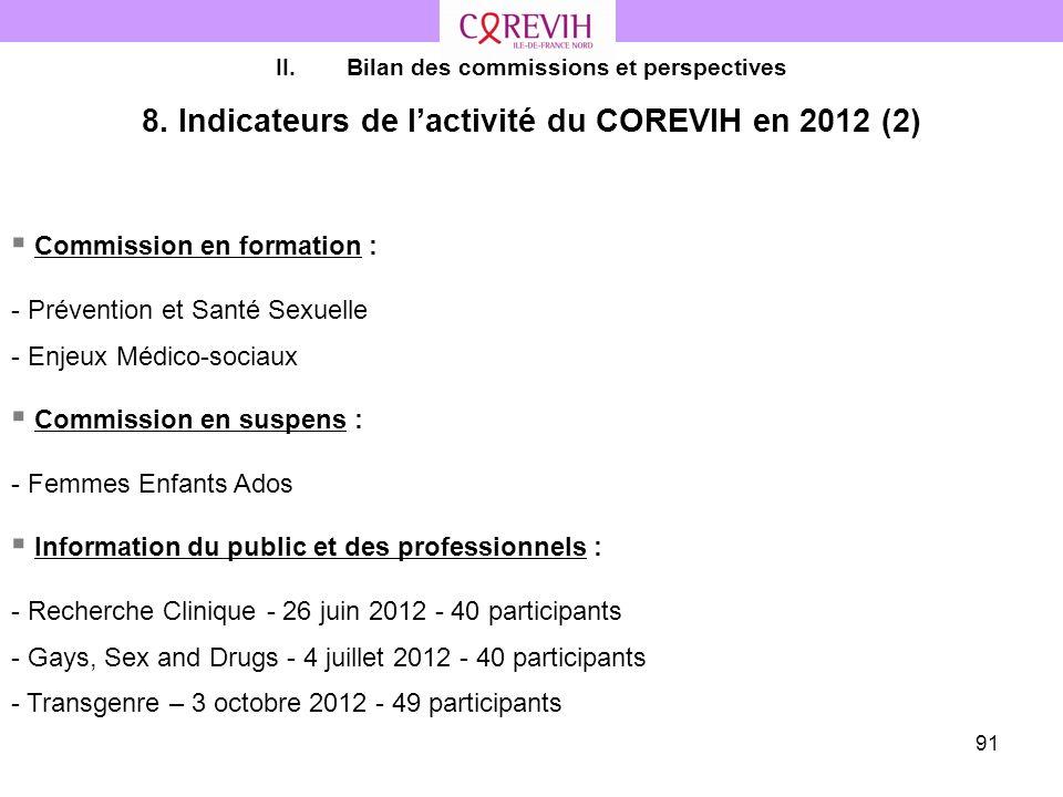 8. Indicateurs de l'activité du COREVIH en 2012 (2)