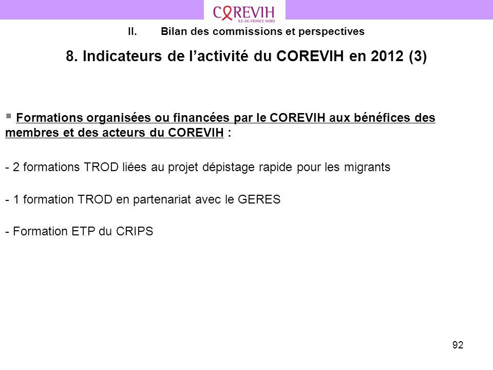 8. Indicateurs de l'activité du COREVIH en 2012 (3)
