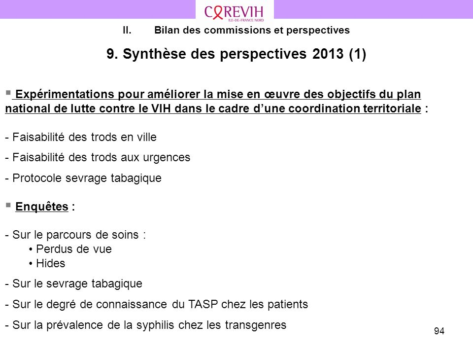 9. Synthèse des perspectives 2013 (1)