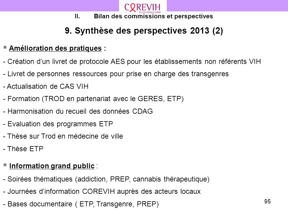9. Synthèse des perspectives 2013 (2)