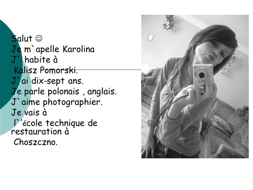 Salut  Je m`apelle Karolina. J` habite à. Kalisz Pomorski. J`ai dix-sept ans. Je parle polonais , anglais.