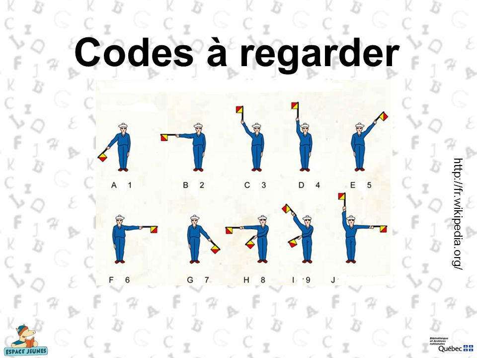 Codes à regarder http://fr.wikipedia.org/ Le sémaphore: