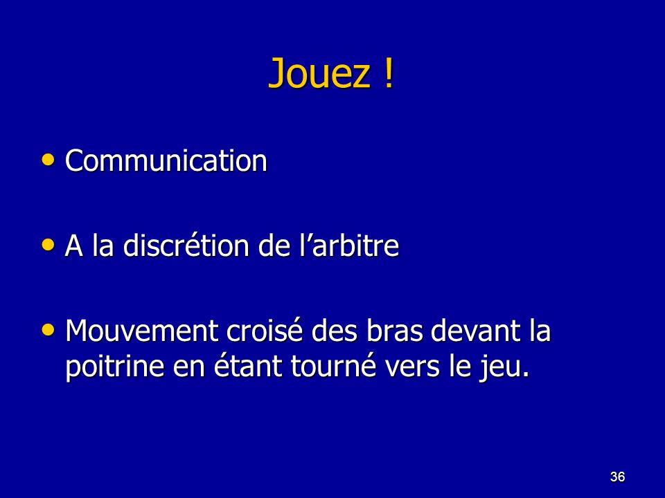 Jouez ! Communication A la discrétion de l'arbitre