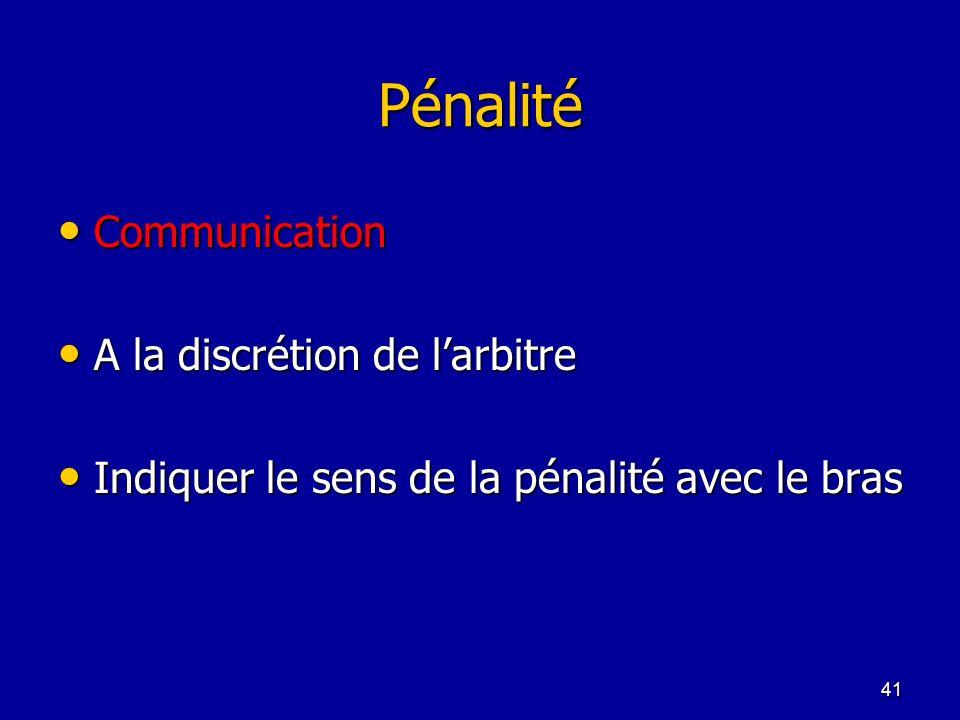 Pénalité Communication A la discrétion de l'arbitre