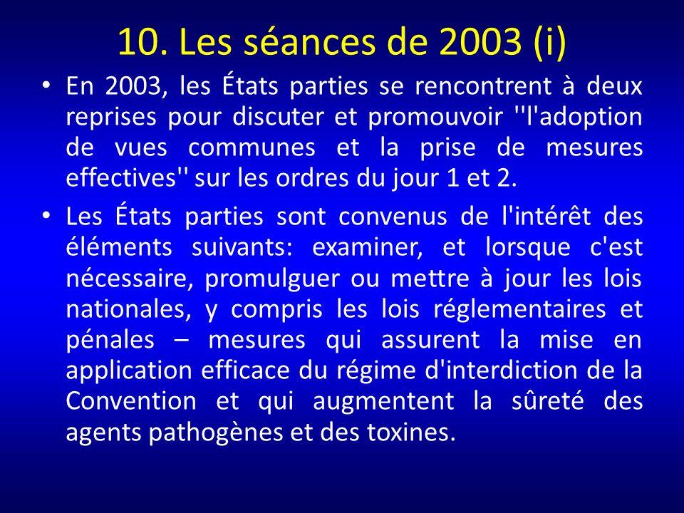 10. Les séances de 2003 (i)