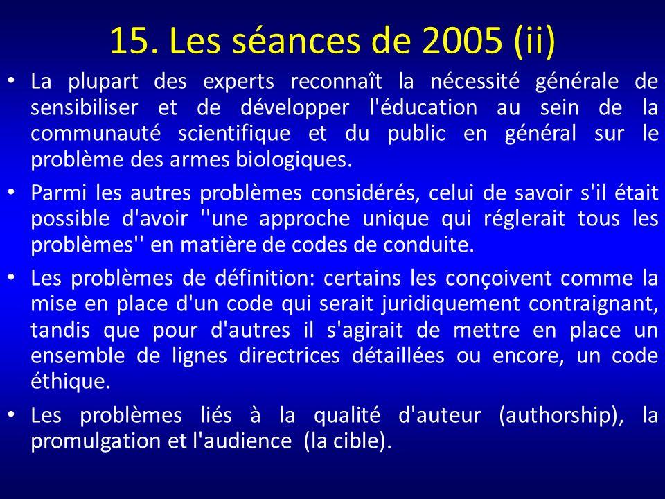 15. Les séances de 2005 (ii)