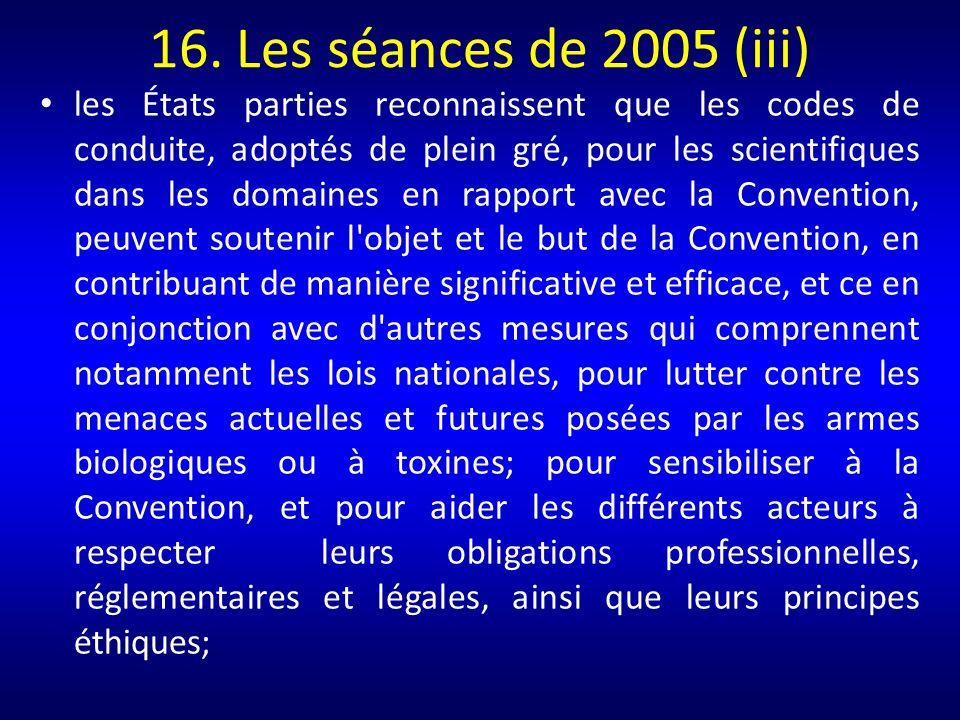 16. Les séances de 2005 (iii)