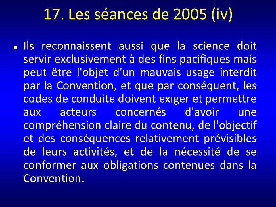 17. Les séances de 2005 (iv)