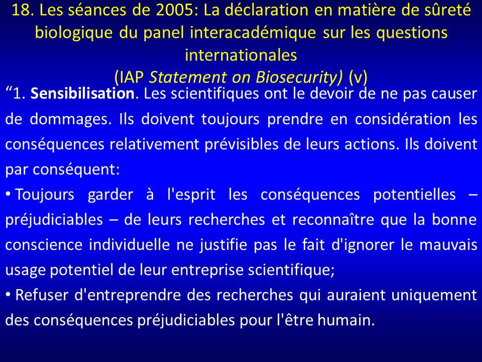 (IAP Statement on Biosecurity) (v)