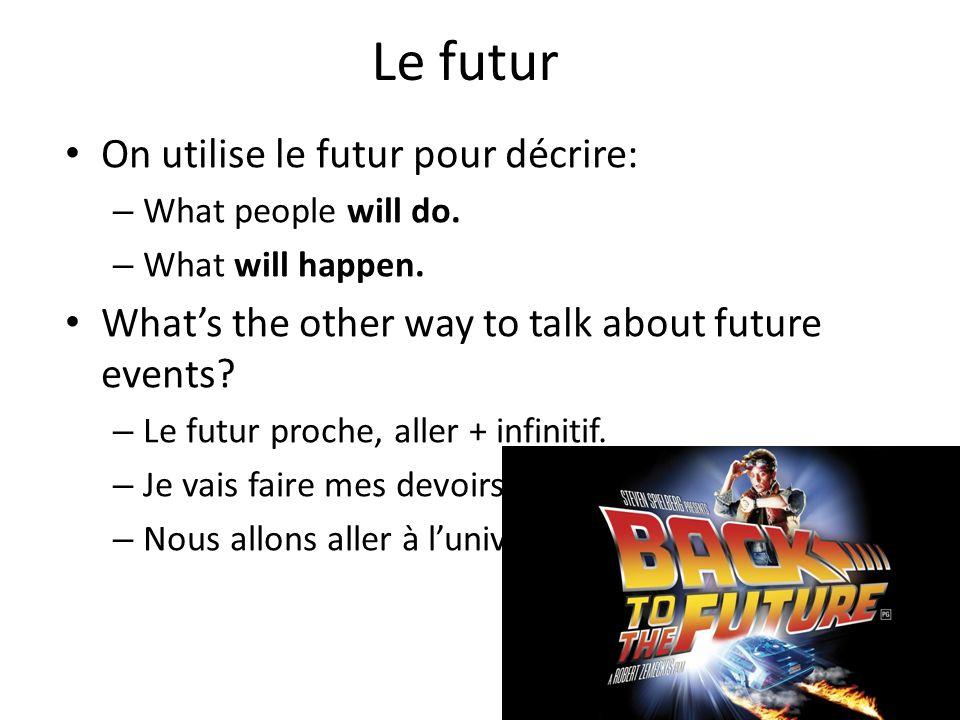 Le futur On utilise le futur pour décrire: