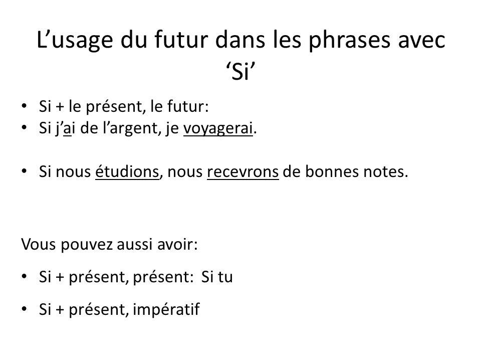 L'usage du futur dans les phrases avec 'Si'