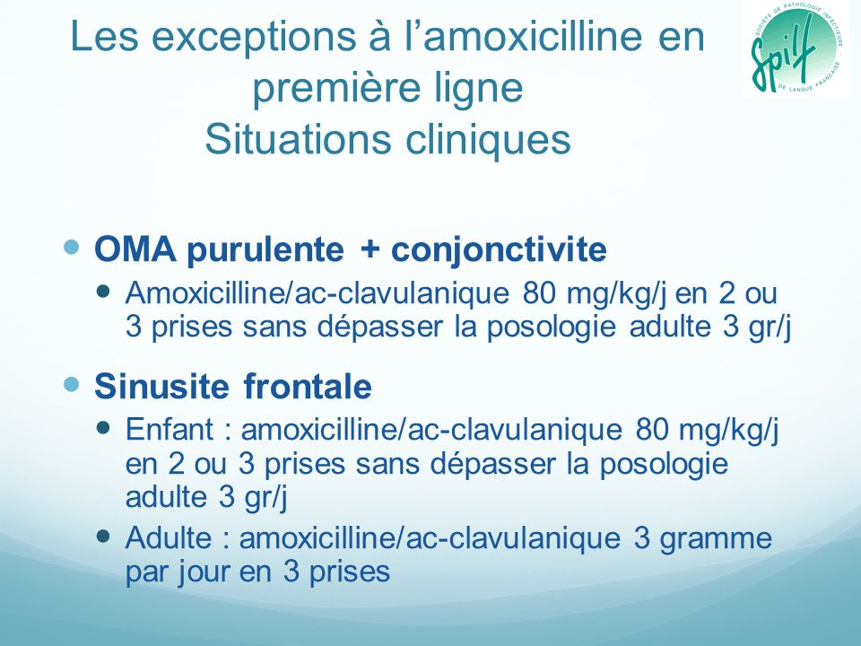 Les exceptions à l'amoxicilline en première ligne Situations cliniques