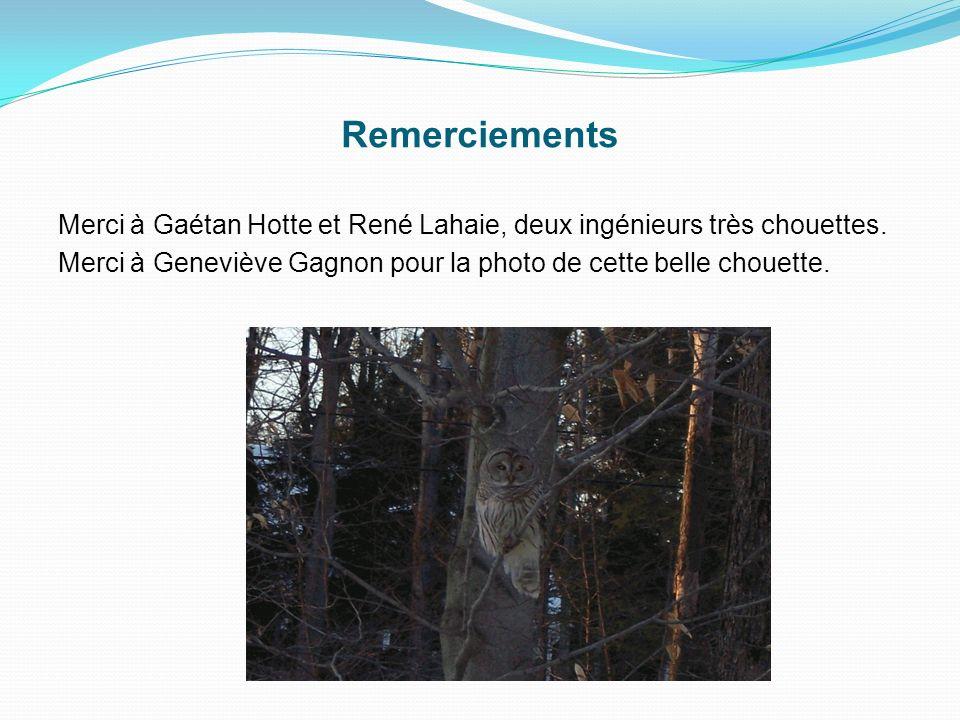 Remerciements Merci à Gaétan Hotte et René Lahaie, deux ingénieurs très chouettes.