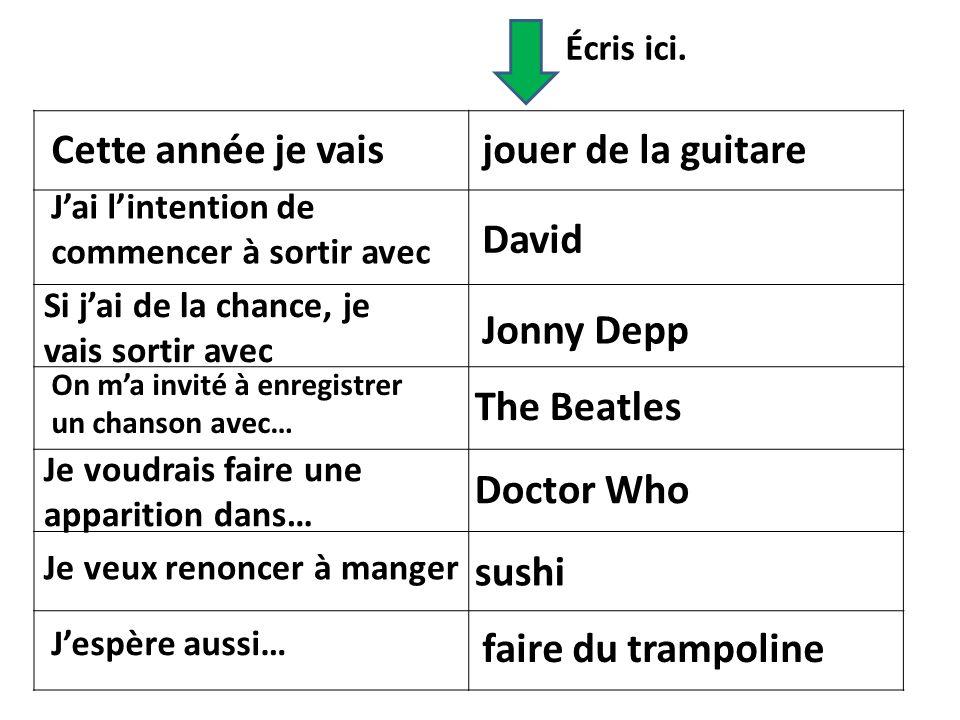 Cette année je vais jouer de la guitare David Jonny Depp The Beatles