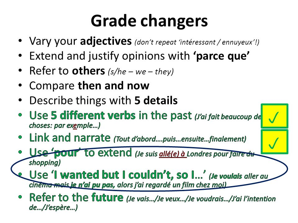 Grade changersVary your adjectives (don't repeat 'intéressant / ennuyeux'!) Extend and justify opinions with 'parce que'