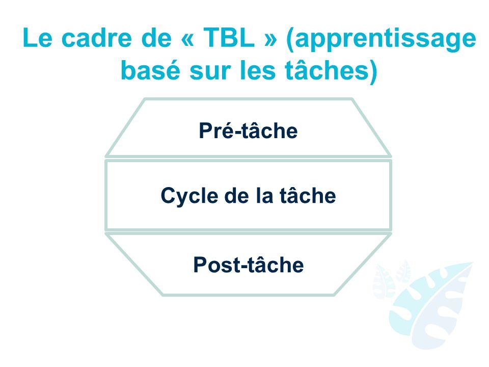 Le cadre de « TBL » (apprentissage basé sur les tâches)